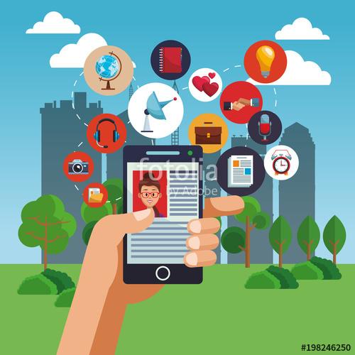 500x500 Navigating On Social Media From Smartphone Vector Illustration