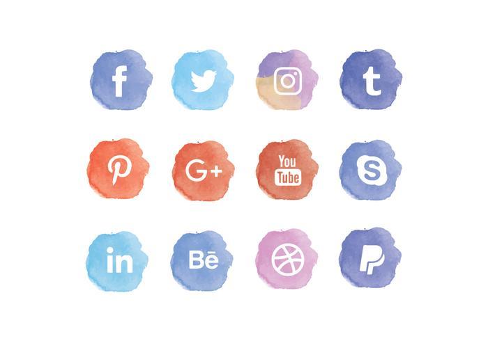 700x490 Vector Watercolor Social Media Icons Set