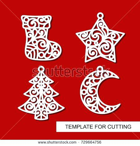 450x470 Xmas Tree Star Template Set Decoration Sock Stock Vector Royalty