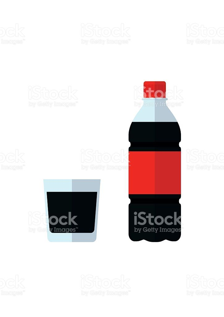 724x1024 Soda Bottle Icon And Glass. Drink In Flat Style Isolated On White