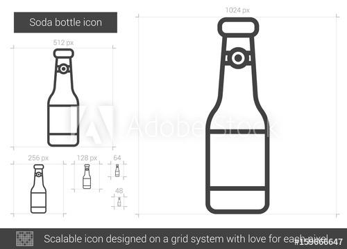500x360 Soda Bottle Vector Line Icon Isolated On White Background. Soda