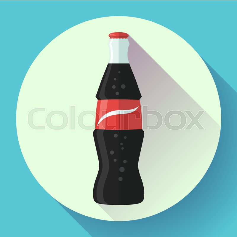 800x800 Soda Bottle With Red Lable Flat Vector Icon. Stock Vector