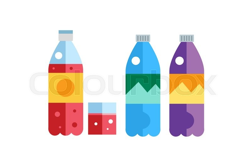 800x532 Water, Soda And Juice Or Tea Bottles Vector Illustration. Set Of
