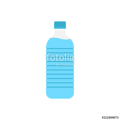 500x500 Water Bottle Icon In Flat Style. Plastic Soda Bottle Vector