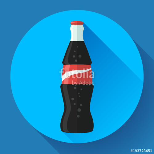 500x500 Cola Bottle Soda Bottle With Red Lable Flat Vector Cola Icon