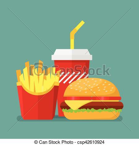 450x470 Hamburger French Fries And Soda. Vector Illustration.