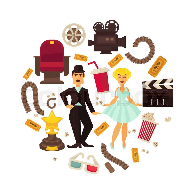 800x800 Retro Cinema Or Movie Time Cinematography Poster. Vector Icons Of