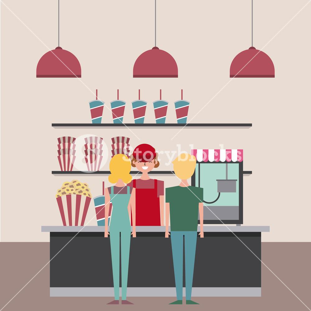 1000x1000 Salesman And Customer Cinema Bar Counter With Pop Corn Soda Vector