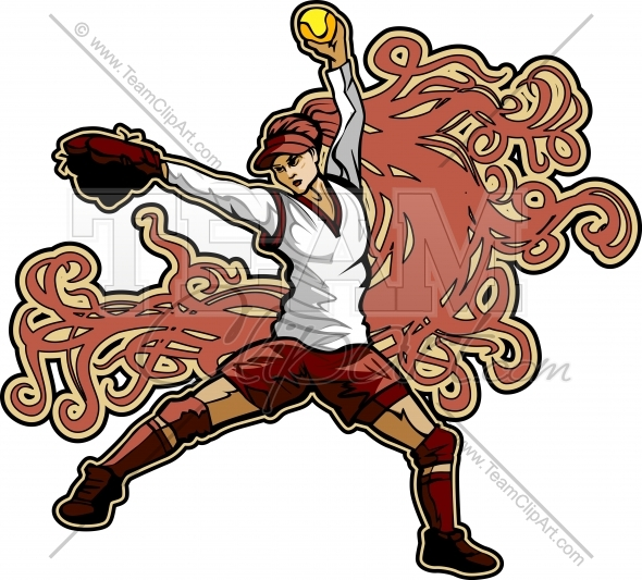 590x533 Fastpitch Softball Player Pitching Fast Pitch Softball Art Nouveau