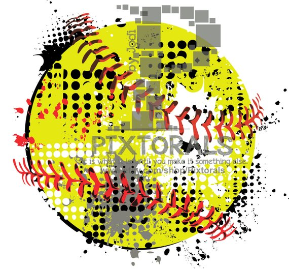 570x529 Softball Vector Softball As Png Jpg High Res And Eps Etsy