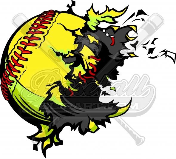 590x533 Exploding Softball Clipart. Destroyed Softball Ball Vector Image.