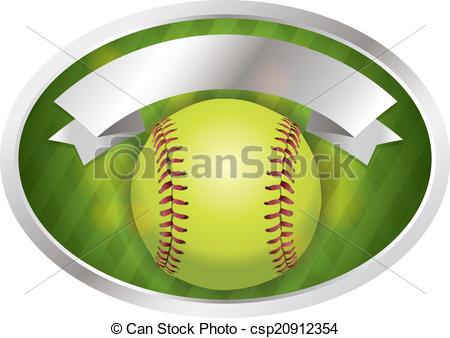 450x338 Softball Emblem Banner Illustration. An Illustration Of A Softball
