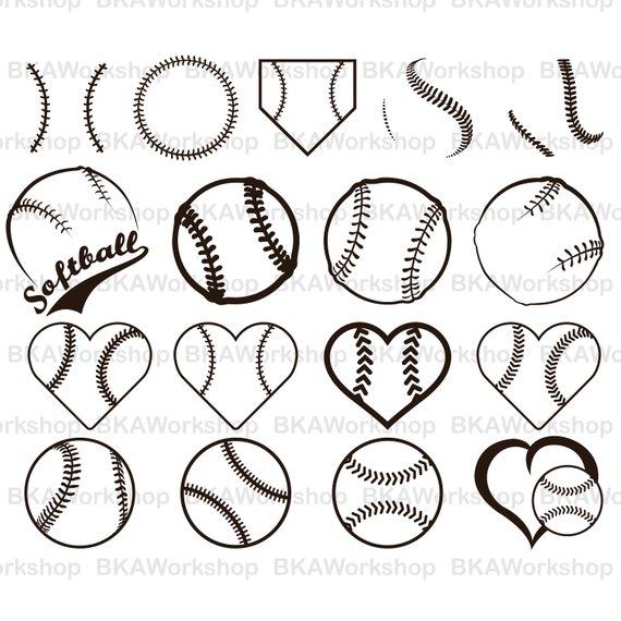 570x570 Softball Svg Baseball Softball Vector Softball Baseball Etsy