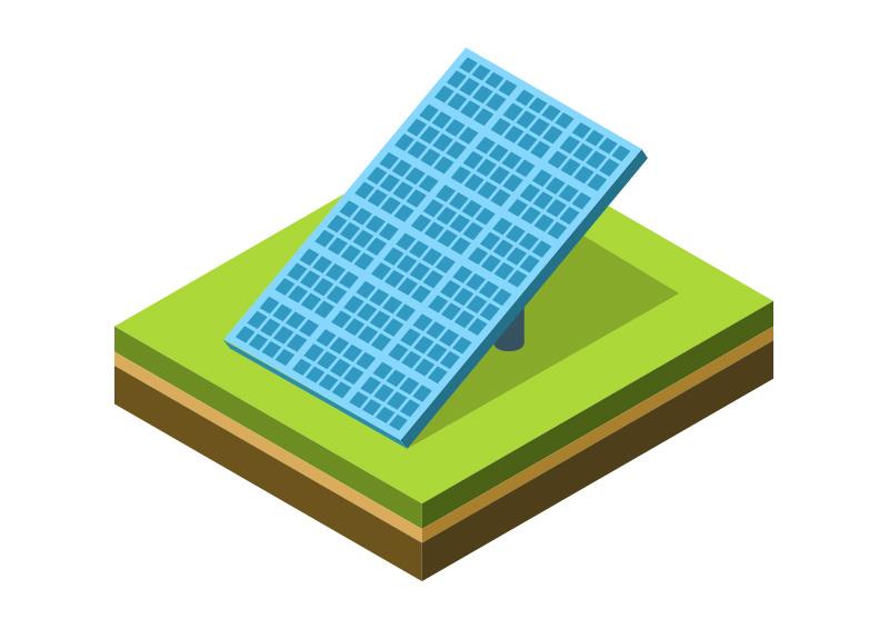 800x566 Solar Panel Isometric Vector