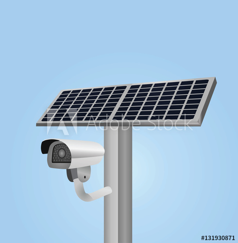 490x500 Camera With Solar Panel Vector