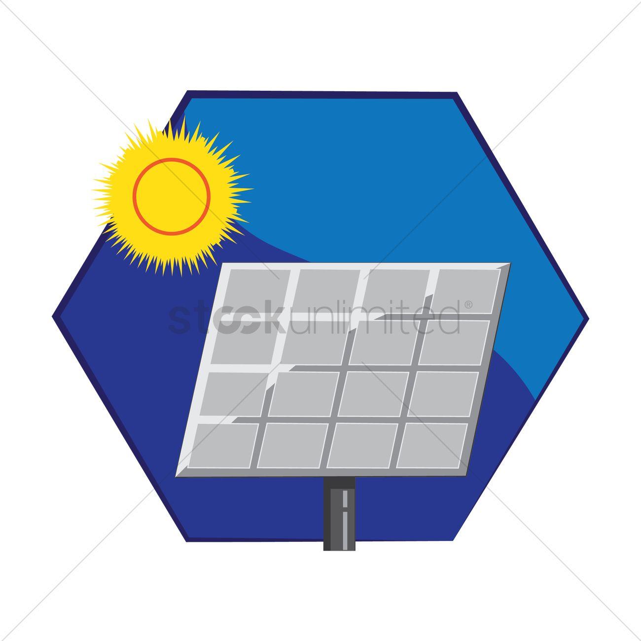 1300x1300 Sun And Solar Panel Vector Image