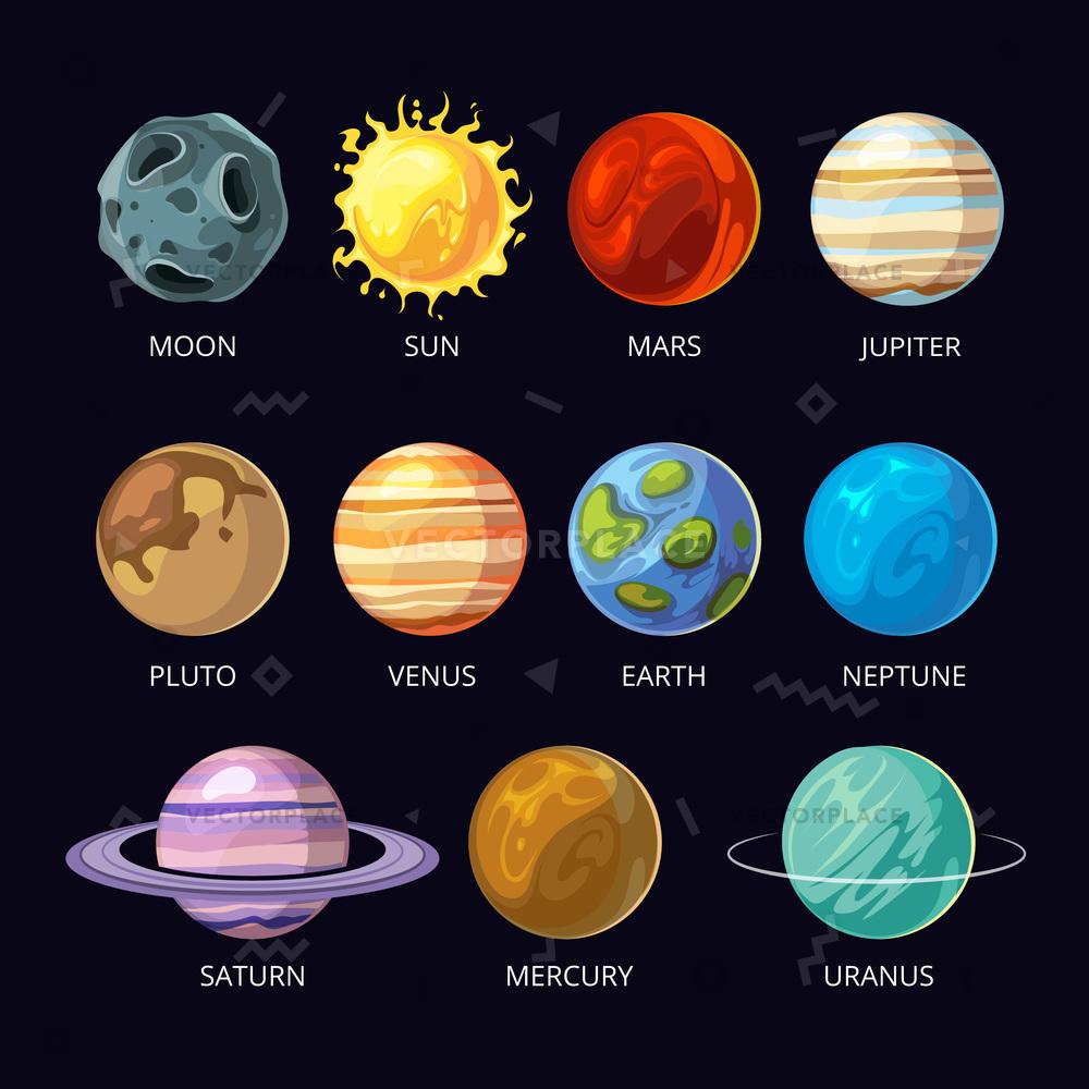 1000x1000 Planets Solar System Cartoon Set Dark Vector Illustration 55005
