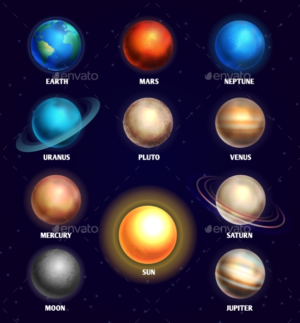 590x634 Planets Of Solar System And Sun Education Vector By Microvone