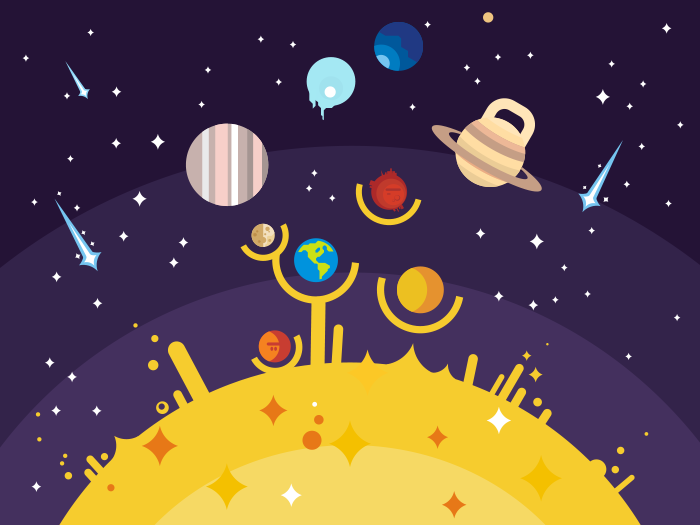 700x525 Solar System Flat Illustration
