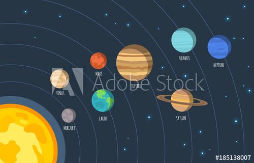 500x320 Solar System. Vector Illustration Of Cartoon Solar System Planets