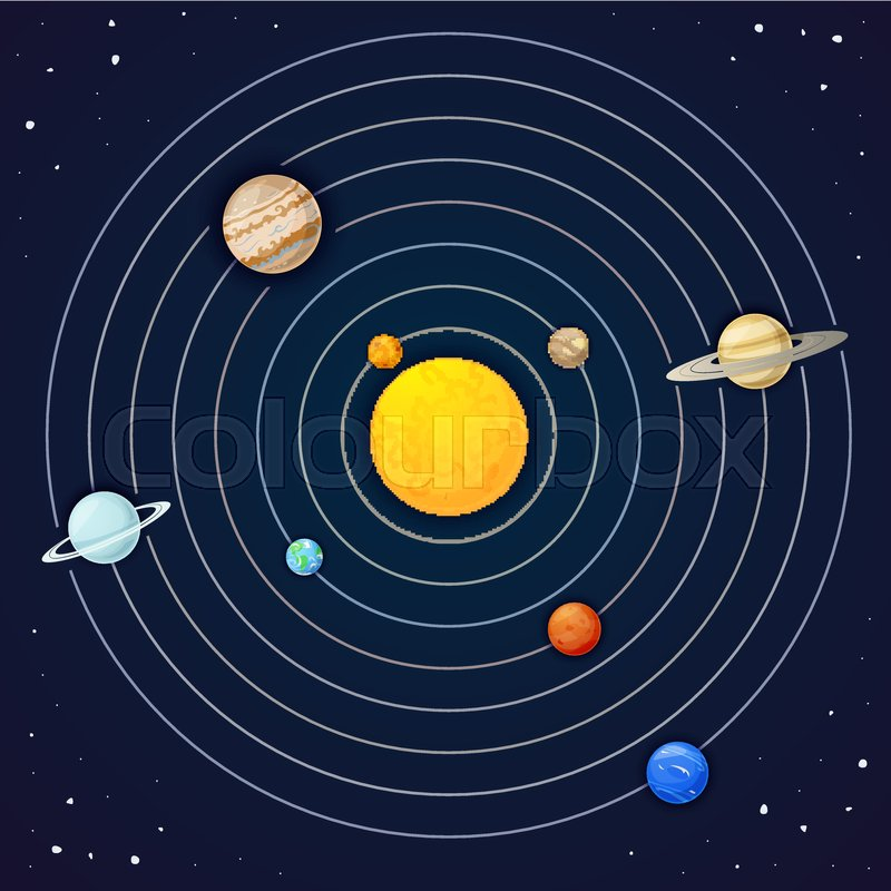 800x800 The Planets Of The Solar System, Vector Illustration Stock