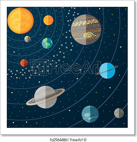 561x581 Free Art Print Of Illustration Of A Solar System With Planets