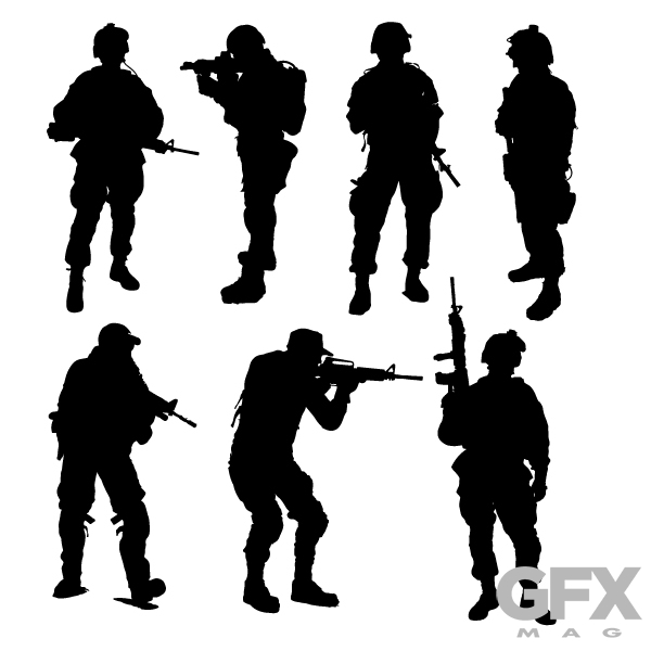 600x600 Free Vector Soldier Silhouette Clip Art Free Download Vector