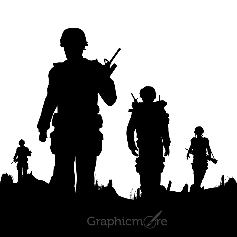 800x800 Soldiers Silhouettes Vector Set Design Free Download