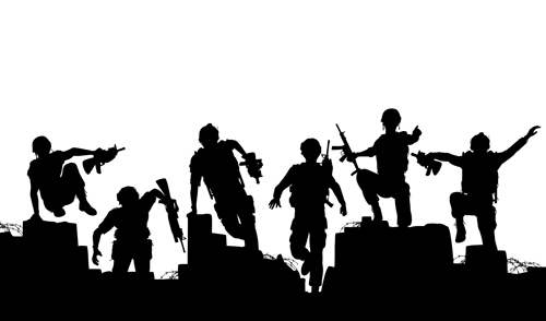 500x294 Soldiers Silhouettes Vector Set 05 Free Download