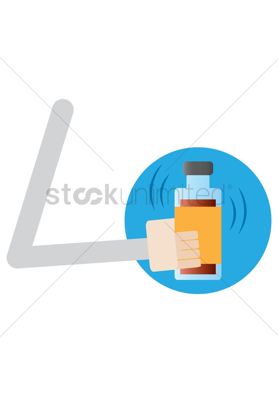 919x1300 Hand Shaking Bottle Of Chemical Solution Vector Image