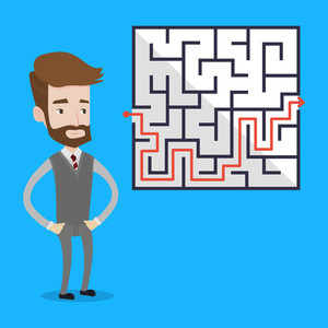 300x300 Businessman Holding Piece Puzzle Solution Work Vector Illustration