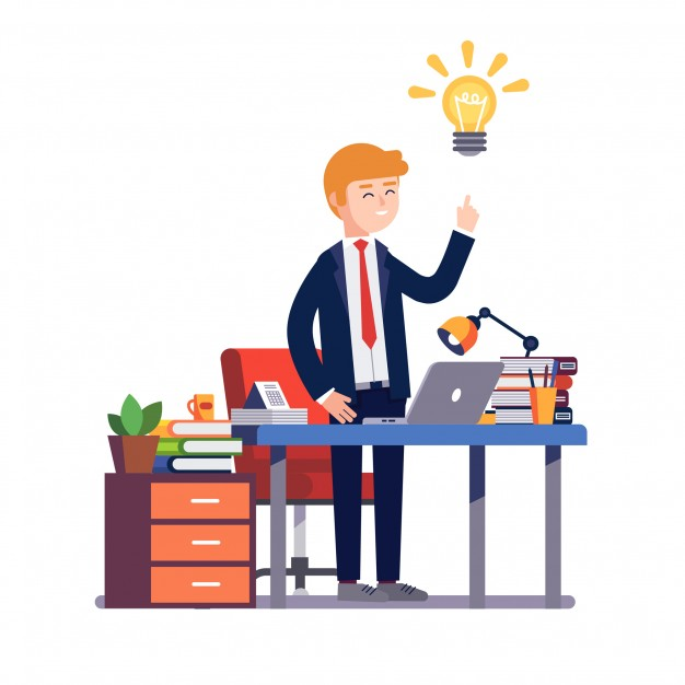 626x626 Business Man Having A New Bright Solution Idea Vector Free Download