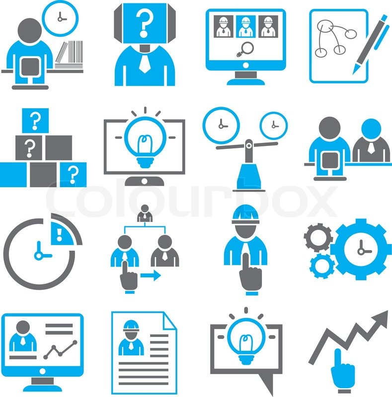 789x800 Business Solution And Management Icons Set In Black And Blue Theme