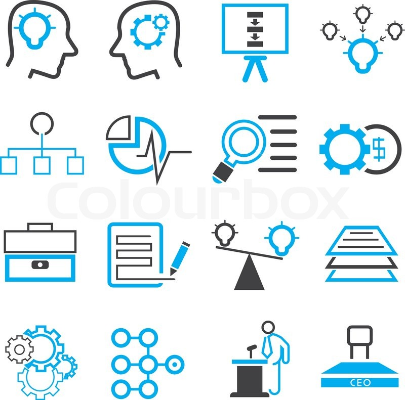 800x791 Business Solution Icons, Blue Theme Stock Vector Colourbox