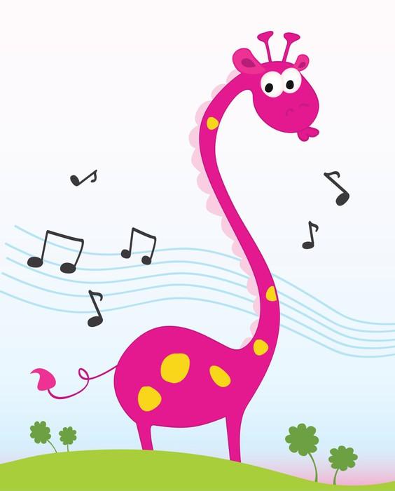 564x700 Singing Giraffe. Funny Jungle Giraffe Sing A Song. Vector. Wall