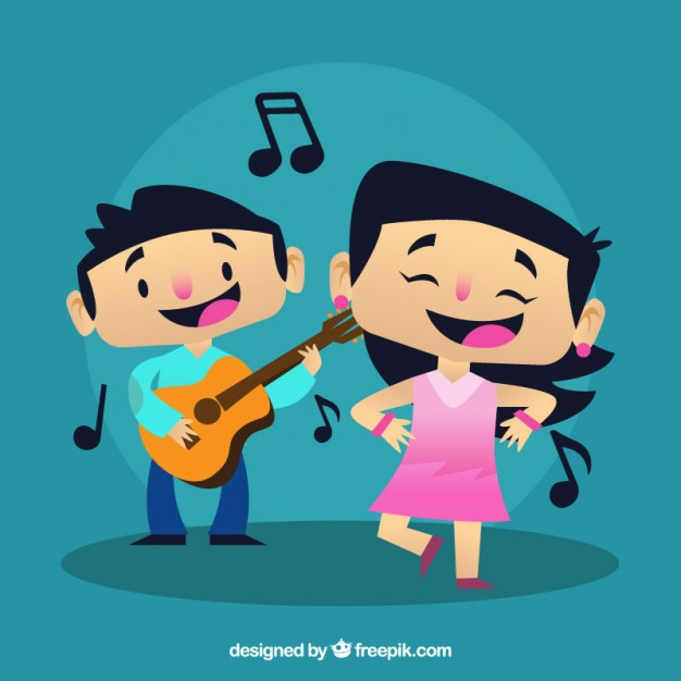 626x626 Boy Playing A Guitar And Girl Dancing A Song Vector Free Download