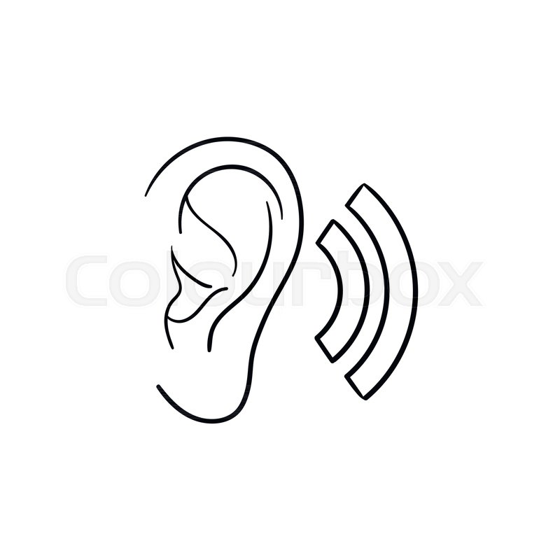 800x800 Human Ear With Sound Waves Hand Drawn Outline Doodle Icon. Human