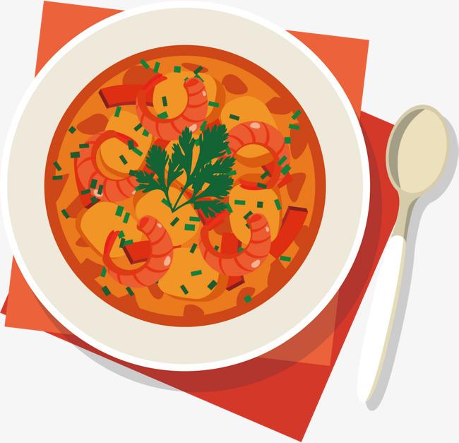 650x627 Lobster Soup Vector, Lobster Bisque, Cartoon Food, Cartoon Hand