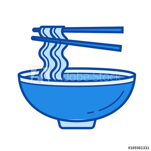 500x500 Noodle Soup Vector Line Icon Isolated On White Background. Noodle
