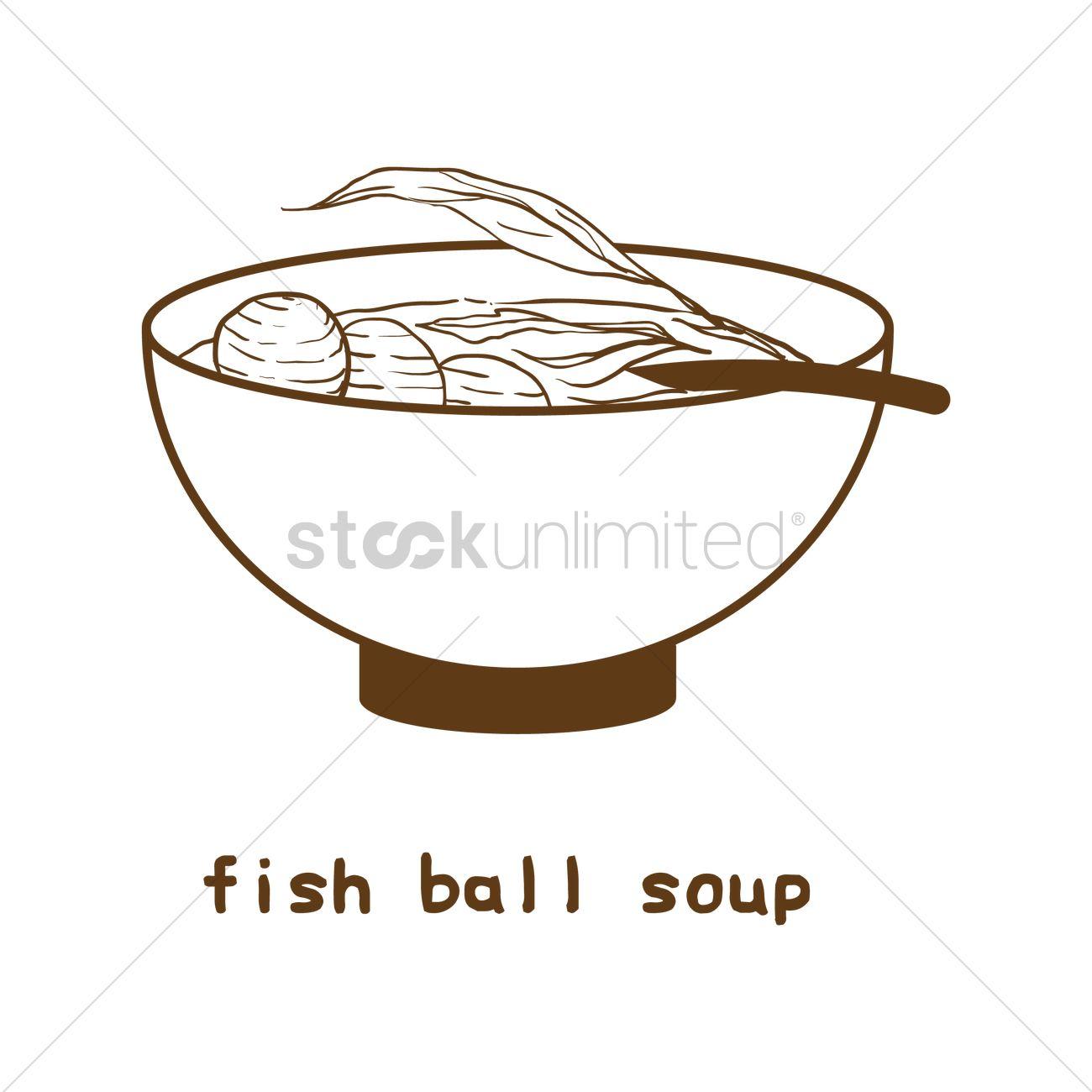 1300x1300 Fish Ball Soup Vector Image