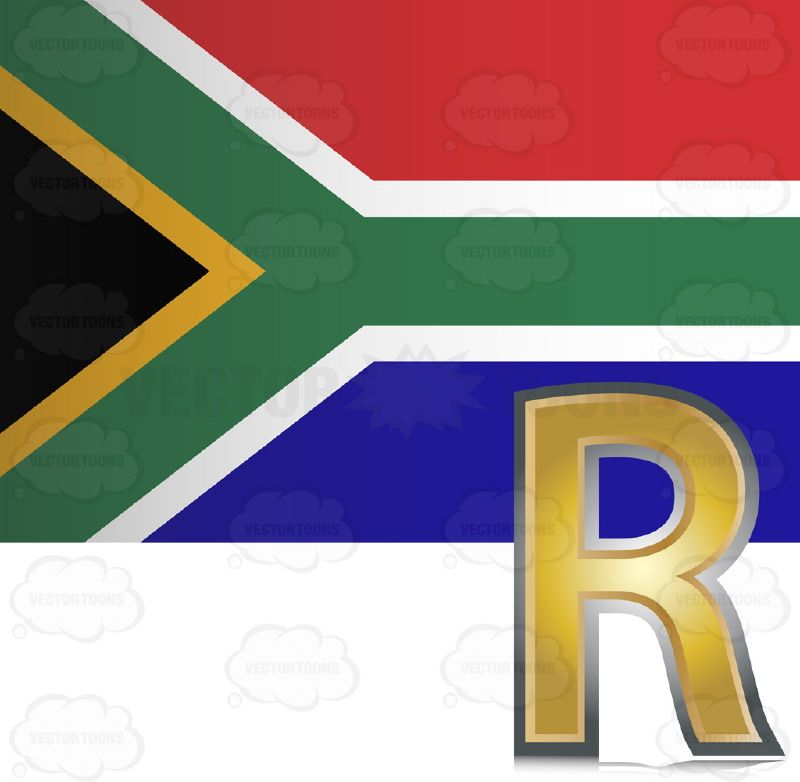 800x782 South African Flag With Golden Rand Currency Sign Symbol In Corner