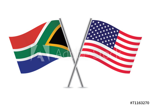 500x352 American And South African Flags. Vector Illustration.