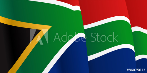 500x250 Background With Waving South Africa Flag. Vector