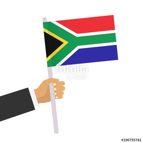 500x500 Man Holds South African Flag. Hand Holding Flag. Vector Stock