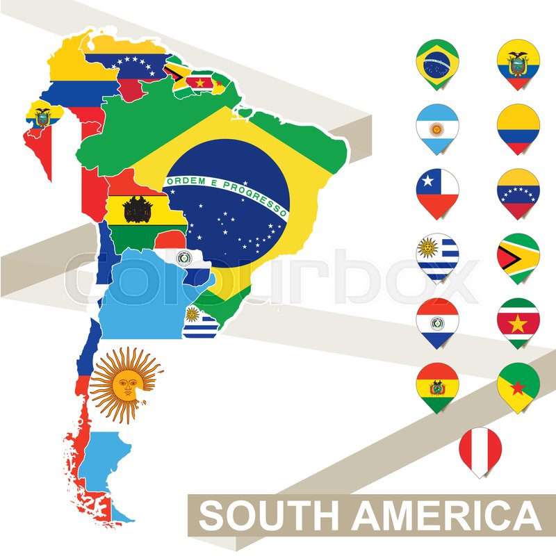 800x800 South America Map With Flags, South America Map Colored In With