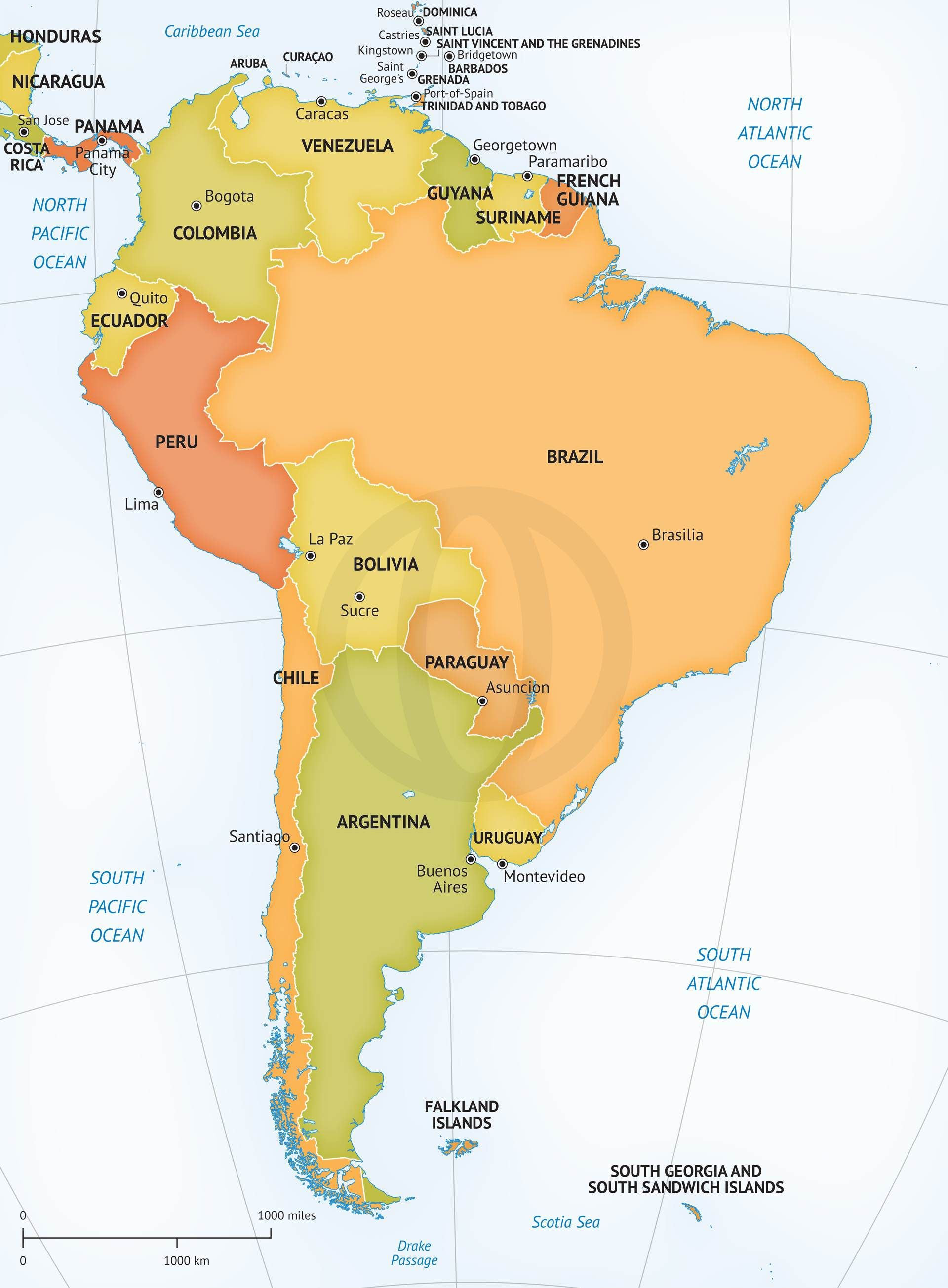 1920x2611 Vector Map Of South America Political Latin America