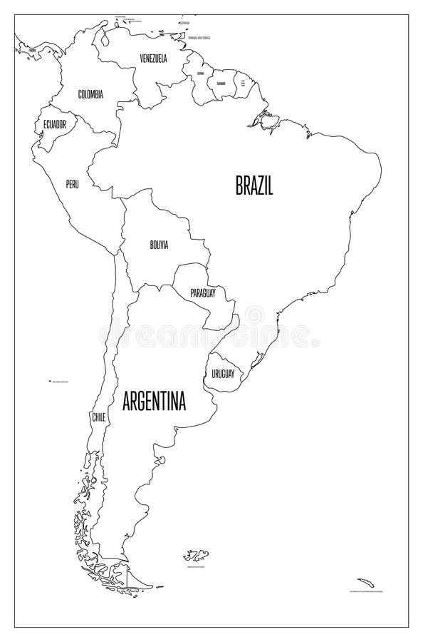594x900 Latin America Map Vector Political Map Of South America Simple