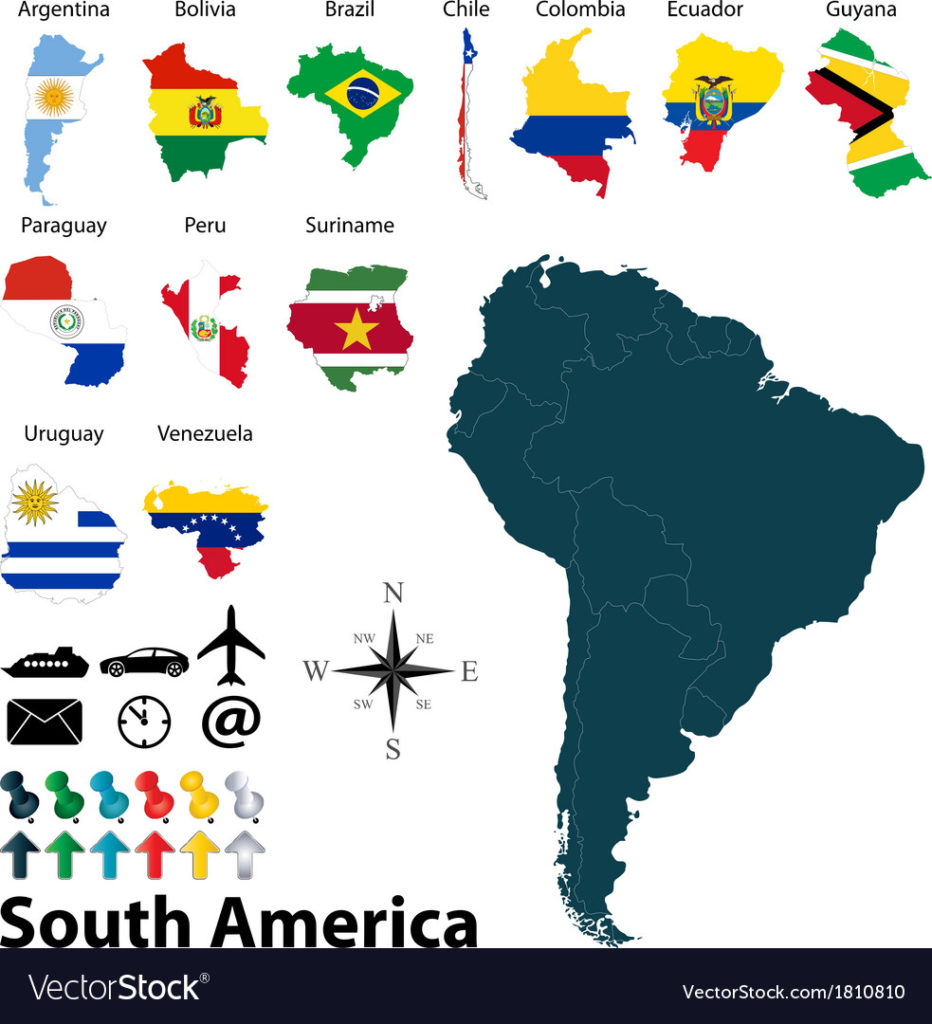 932x1024 Maps With Flags Of South America Vector 1810810 On South America