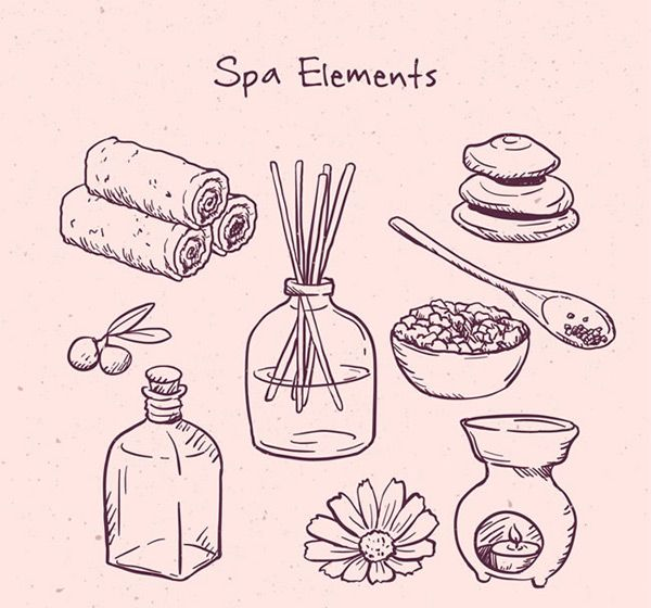 600x560 Hand Drawn Elements Spa Vector Ai Free Vectors Spa
