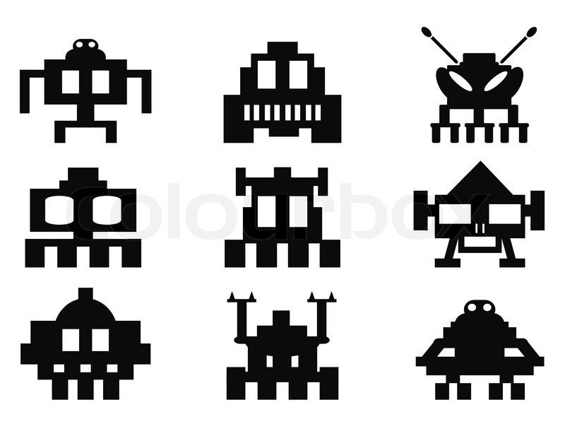 800x600 Isolated Space Invaders Icons Set From White Background Stock